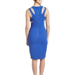 FRENCH CONNECTION WHISPER LIGHT CUTOUT BLUE DRESS